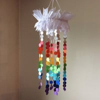 Clouds and Circles Rainbow mobile. Nursery mobile, Crib mobile, Paper circle mobile, Happy Birthday, Wedding. Gift.