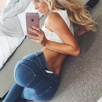 Fashion  Casual Stretch Buttocks High Waist Tight Pants Trousers Jeans