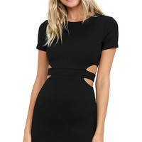 Feeling the Heat Black Cutout Bodycon Dress