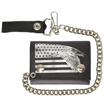 USA Flag and Eagle Imprint Biker Chain Trifold Wallet Genuine Leather 946-41 (C)