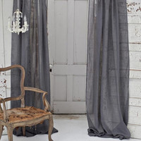 Couture Dreams Solid Linen Gauze Window Curtain, Slate Grey