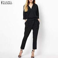 New Arrival Women Jumpsuits 2016 Spring Autumn Bodysuit Half Sleeve V Neck Casual Elegant Ladies Long Office OL Rompers Overalls