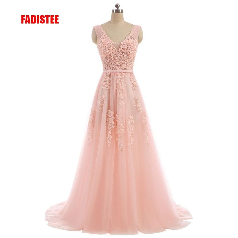 Image of FADISTEE Vestido De Festa Sweet pink Lace V-neck Long Evening Dress Bride Party Sexy Backless beads pearls Prom Dresses lace-up