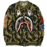 PEAPV BAPE SHARK Women/Men Fashion Long Sleeve Camouflage  Sweater Sweatshirt Coat
