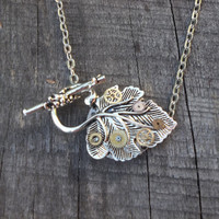 Clockpunk Steampunk Reversible Pendant Necklace, Stainless Steel Watch Movement on Antiqued Silver Leaf w/Gears on Silver Cable Link Chain