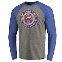 Chicago Cubs MENS 2016 World Series Champions Mens Casual Loose Long Sleeve Splice Shirt Tops