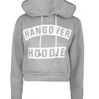 Hangover Hoodie Print Hooded Cropped Sweatshirt in Grey | ChiaraFashion