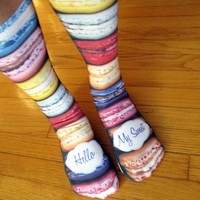 Full Print Custom Printed Socks - Hello My Sweet Macaroons - Adult Unisex Size fits Most