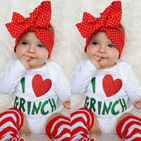 2Pcs Kids Baby Boy Girls Clothes Set Christmas Romper Leg Warmers Xmas Clothing Costume Outfits Set
