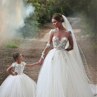 [188.99] Attractive Tulle & Satin Bateau Neckline A-Line Wedding Dresses With Beaded Lace Appliques - dressilyme.com