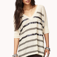 Sequined Striped Purl Knit Sweater