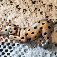 Dalmation Dog Brooch, Signed JJ, Jonelle, Pewter, 1960s Vintage Jewelry ETSY SALE