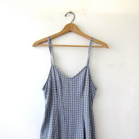 Vintage slip dress. Long sun dress. Modern plaid dress. Simple & basic dress.