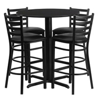 30'' Round Black Laminate Table Set with Ladder Back Metal Bar Stool and Black Vinyl Seat, Seats 4