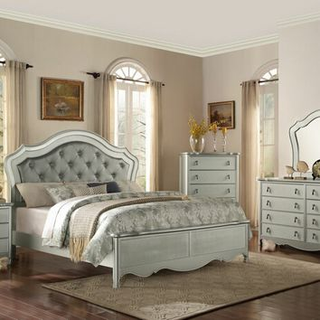 5 pc toulhouse collection champagne finish wood and platinum embossed vinyl tufted headboard bedroom set