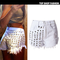 Sexy Women Girl Summer High Waist Ripped Hole Wash Denim Jeans Shorts Pants = 4721836996