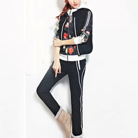 Black Floral Hooded Long Sleeve Sweater Suit