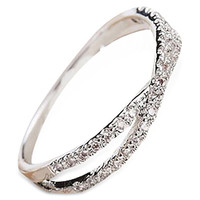18KGP Simple Crystal Cross / Pass Dainty Ring for Women - White Gold Plated Size 4