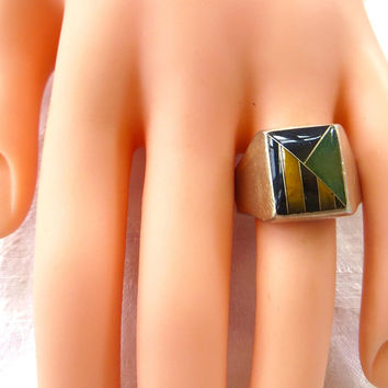 Sterling Gemstone Ring Tiger Eye Malachite Size 12.5 Unisex Ring Vintage Mexican Silver