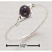 Sterling Silver Ring:  Wire Ring With Onyx Beads