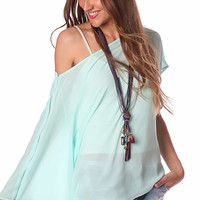 Turquoise One-Shoulder Asymmetrical Top
