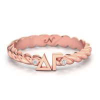 Delta Gamma Rose Gold Pavé Twist Letter Ring, available in any sorority, other metals