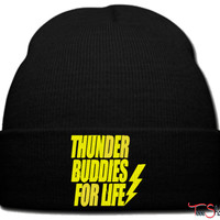 thunder buddies for life yellow beanie knit hat