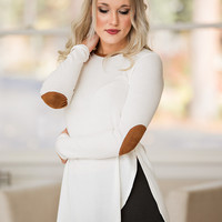 Kinda My Thing Suede Elbow Patch Long Sleeve Textured Top (Ivory)