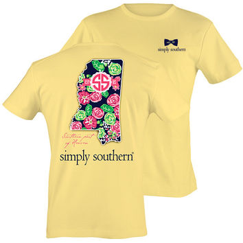 Simply Southern Mississippi Flowers Sunrise MS Preppy State Pattern T-Shirt