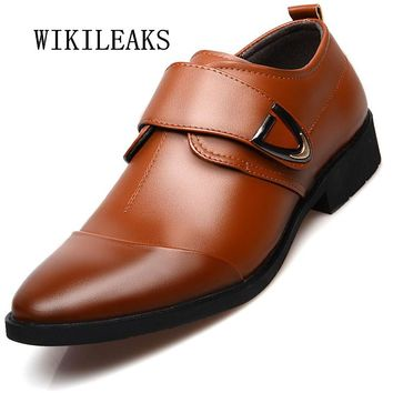 Formal wedding shoes mens pointed toe buckle dress shoes oxford shoes for men office business shoes