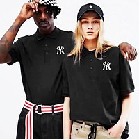 NY MLB Fashion Men Women Casual Embroidery Couple Short Sleeve Lapel T-Shirt Top