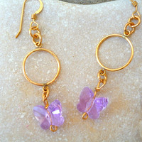 Swarovski lilac butterfly ,gold filled dangle earrings.