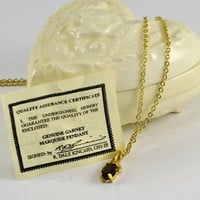 Red Garnet Necklace 1.25K Marquis Cut - Gold Tone Chain - Certificate of Authenticity - Porcelain Heart Box Included
