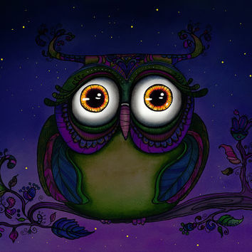 Night Owl Watercolor Painting - giclee art print - owl painting owl in tree - colorful painting of owl - 11x14 16x20 kids room nursery decor