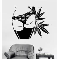 Vinyl Wall Decal Sexy Girl Butt Marijuana Hemp Weed Cannabis Stickers Unique Gift (ig3929)