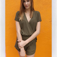 ELMEZIA WRAP PLAYSUIT- OLIVE