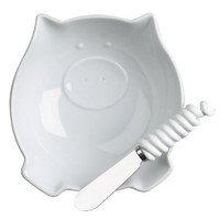 Boston Warehouse Zooology Pig Dip Bowl and Spreader Set