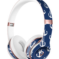 Navy and White Micro Anchors Full-Body Skin Kit for the Beats by Dre Solo 3 Wireless Headphones
