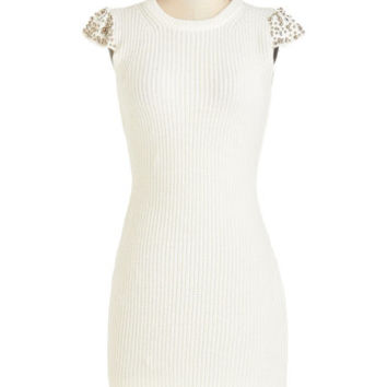 ModCloth Mid-length Cap Sleeves Sweater Dress Going All Haute Dress
