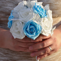 Blue Wedding Bouquet Blue and White Butterfly Bouquet