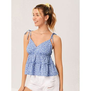 SHEIN Heart Print Tie Shoulder Layered Hem Cami Top
