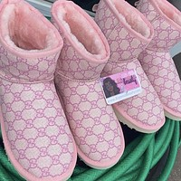 UGG fashion new letter embroidery mid-tube snow boots Shoes