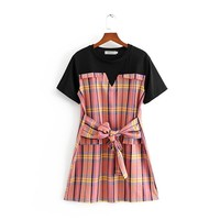 Belted lace-up colorblock dress T-shirt stitched fake two-piece skirt