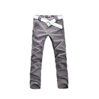 Mens Fit Casual Button Down Trendy Straight Trousers Medium Gray W27