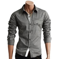 Mens Casual Pocket Point Slim Dress Shirts(HC908)
