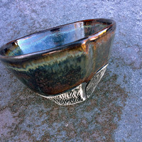 Whiskey Cup in Rusted Steel Glaze, Small Carved Porcelain Cup for Dad, Husband and Cool People. Ready to Ship.  2.25 in. Tall. Food Safe.