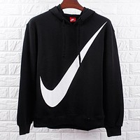 NIKE Autumn And Winter Fashion New Hook Print Hooded Women Long Sleeve Top Sweater Black