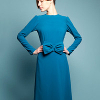Mother of bride dress Blue tea length dress Royal blue dress Blue circle skirt dress Long sleeve dress Bias cut dress Plus size dress