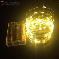 XUNATA AA Battery Powered 2M 3M 5M 10M 100 Led Wedding Party Decoration Festi Copper ^cu