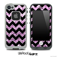 Black Chevron Purple Glimmer Skin for the iPhone 5 or 4/4s LifeProof Case